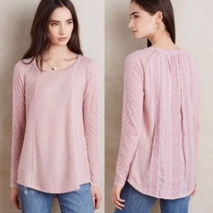 Anthropologie One September Mauve Bramble Lace Top